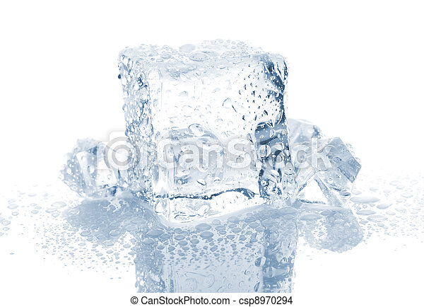 Small And Big Ice Cube With Water Drops