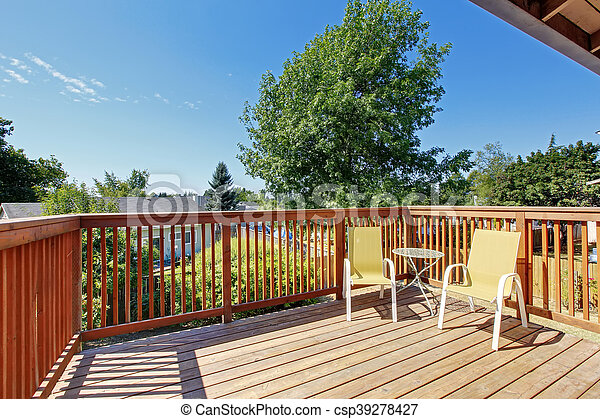 Small Balcony With Two Chairs Overlooking Nice View   Csp39278427