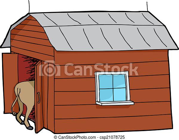 Small Barn With Animal Vector
