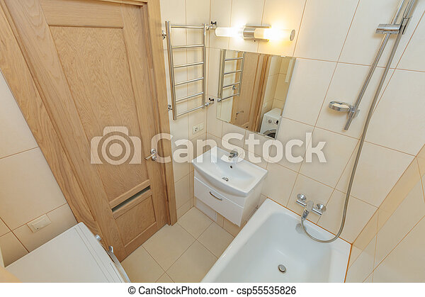 Small Beige Bathroom Small Beige Tile Bathroom With Bath Tube And