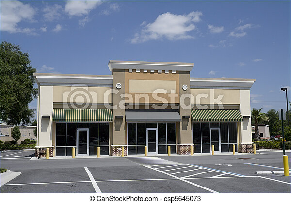 Small Beige Strip Mall Empty Beige Strip Mall With Green