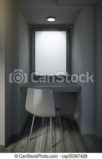 Small black office with blank frame on wall - csp35367428