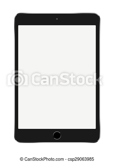 Small Black Tablet Computer on white background - csp29063985