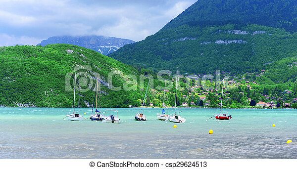Small boats on the lake of Annecy - csp29624513