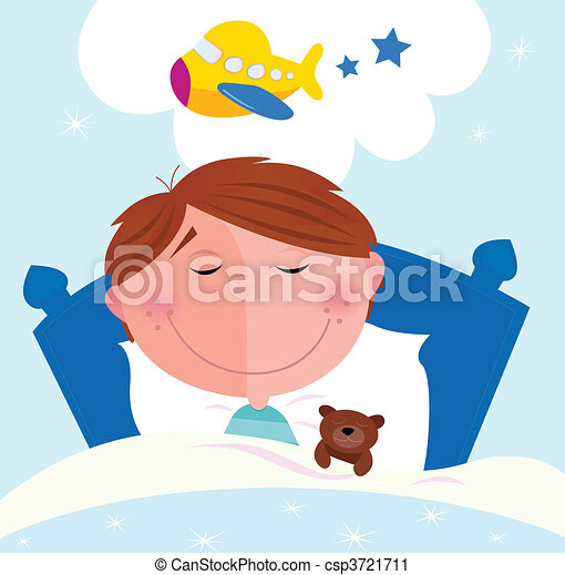 Small boy dreaming about airplane - csp3721711