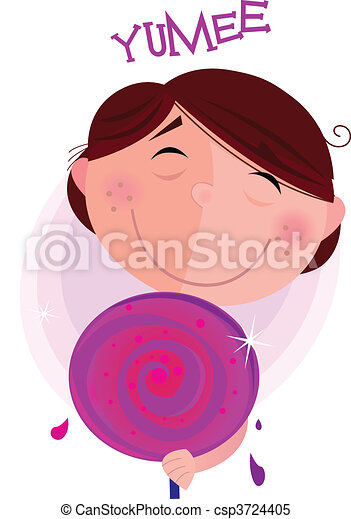 Small boy with lollipop  - csp3724405