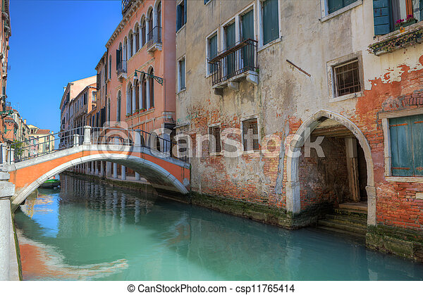 Small bridge over canal and old houses in Venice. - csp11765414