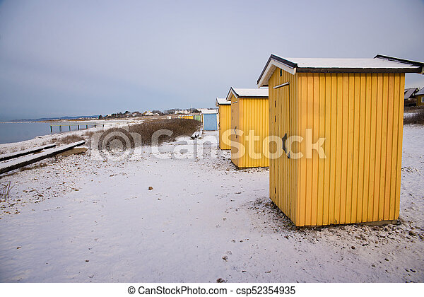 small buildings in winter - csp52354935