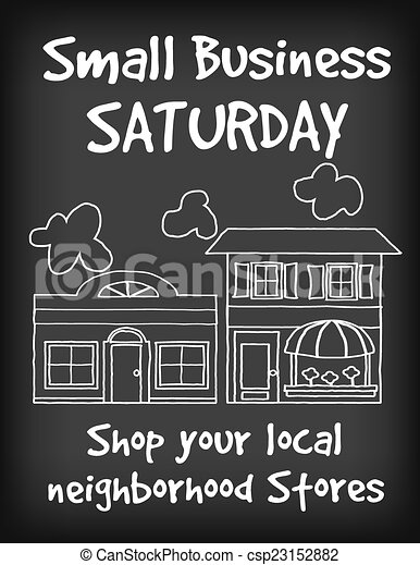Small Business Saturday Chalk Sign - csp23152882