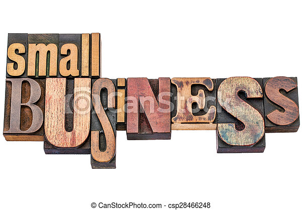 small business typography in wood type - csp28466248