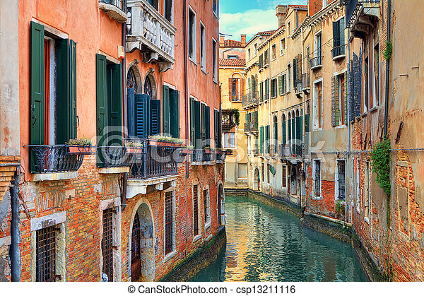 Small canal among old houses. Venice, Italy. - csp13211116