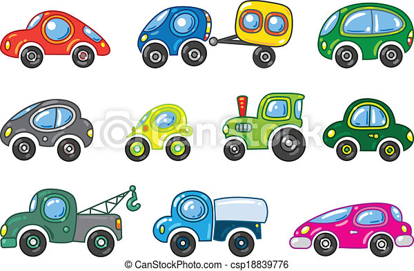 Small Cars Set Of Funny Vector Color
