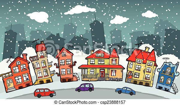 Small cartoon city - csp23888157