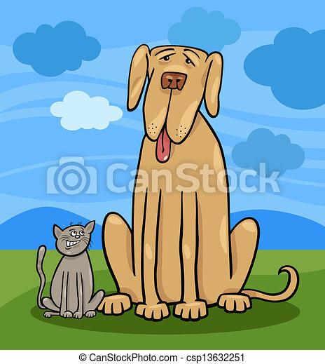 small cat and big dog cartoon illustration - csp13632251
