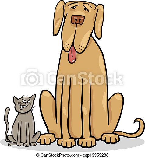 small cat and big dog cartoon illustration - csp13353288