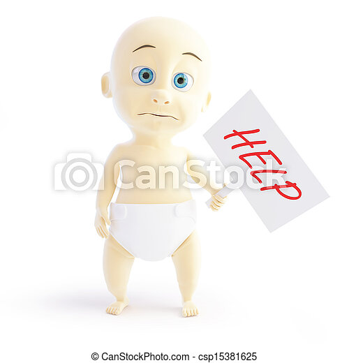 small child asking for help 3d Illustrations - csp15381625