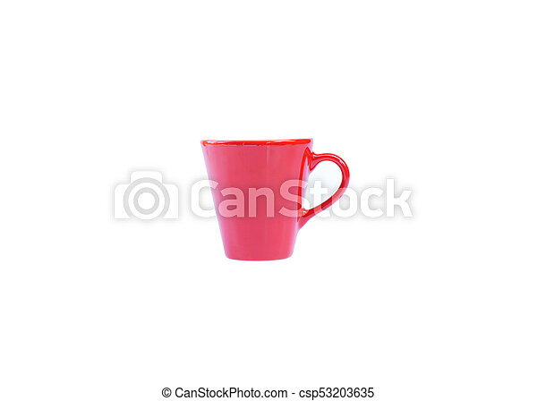 Small coffee red cup on white backgrounds include clipping path - csp53203635