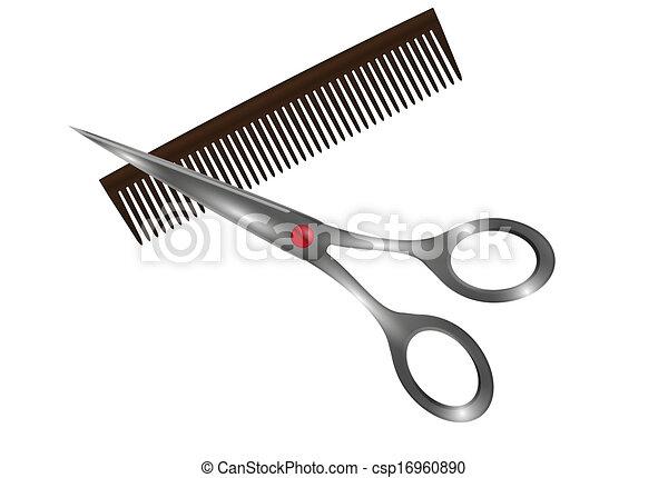 small comb and scissors - csp16960890