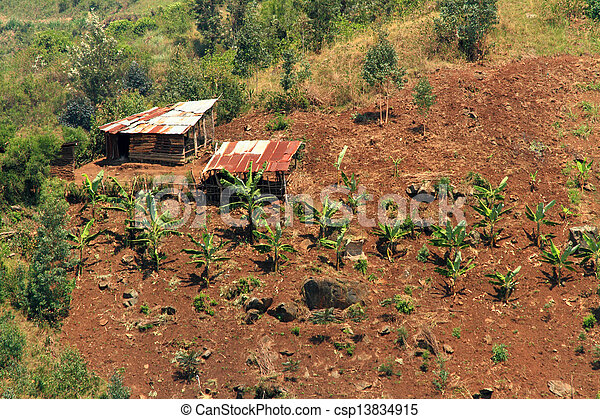 Small Country Farm on a hill - csp13834915
