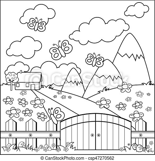 Small country house, meadow and wooden fence. Vector coloring page