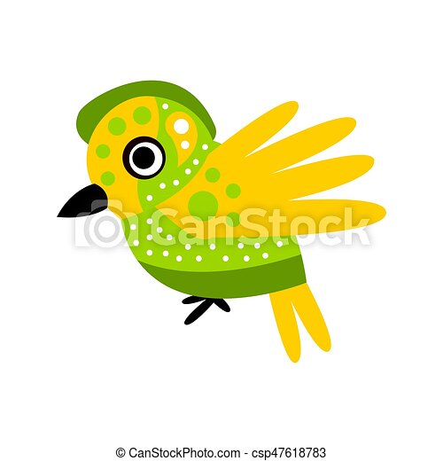 Small cute green and yellow bird colorful cartoon character vector Illustration - csp47618783