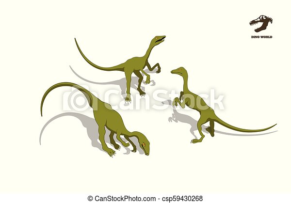 Small dinosaur in isometric style. Isolated image of jurassic monster. Cartoon dino 3d icon - csp59430268