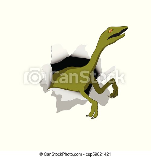 Small dinosaur in isometric style. Reptile emerges from hole. Isolated image of jurassic monster. Cartoon dino 3d icon - csp59621421