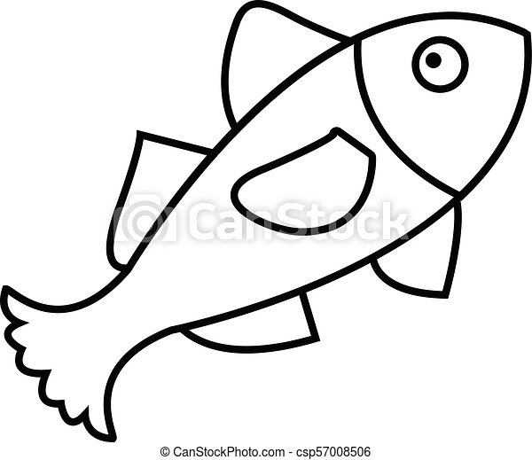 Small Fish Icon Outline Style