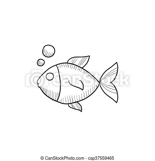 Small Fish Sketch Icon. Small Fish Vector Sketch Icon Isolated On Background. Hand Drawn Small ...