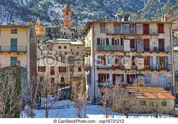 Small french town in the Alps. - csp16731212