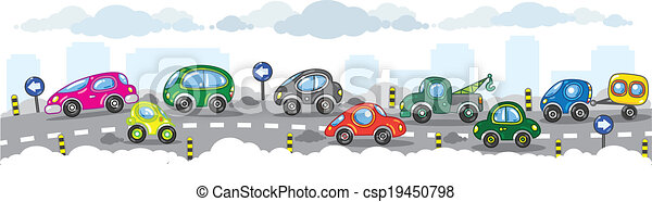 Small funny cars on the urban road. - csp19450798