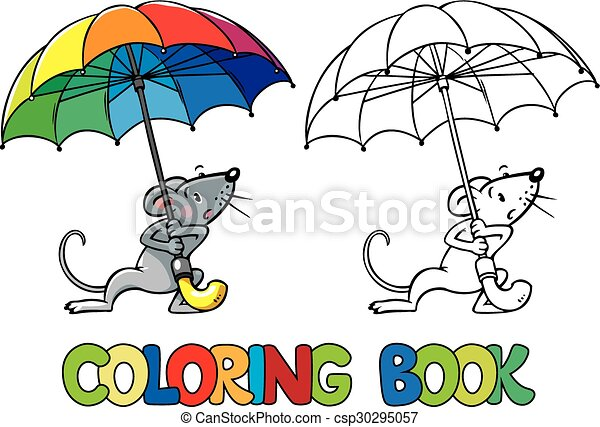 Small Funny Mouse With Umbrella Coloring Book