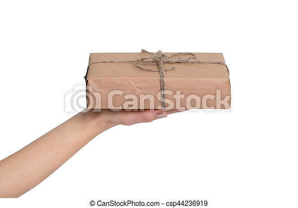 Small gift in the hands of a woman - csp44236919