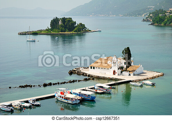 Small Greek Monastery in the middle of a sea - csp12667351