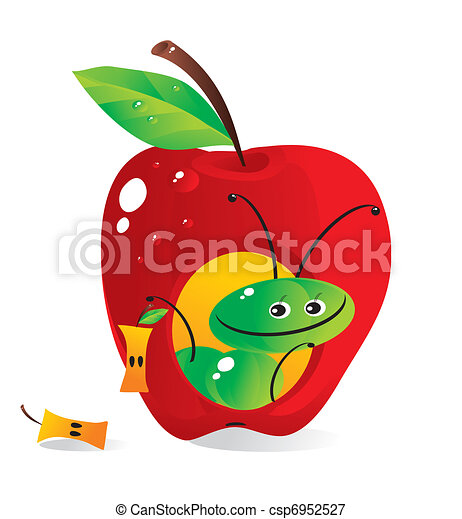 Small house-apple for a cheerful caterpillar - csp6952527