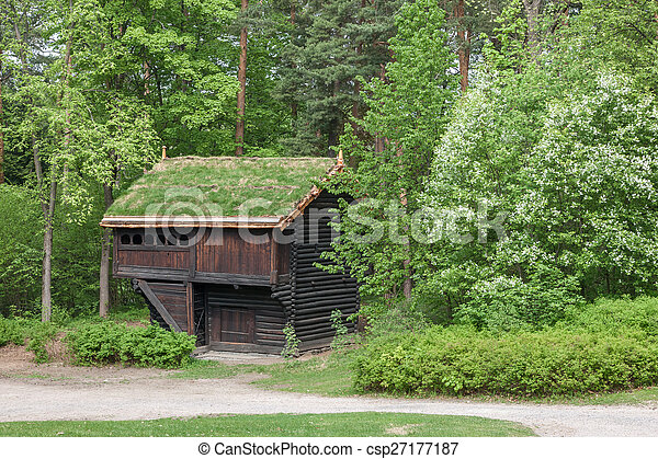 Small house in Norway mountain. - csp27177187
