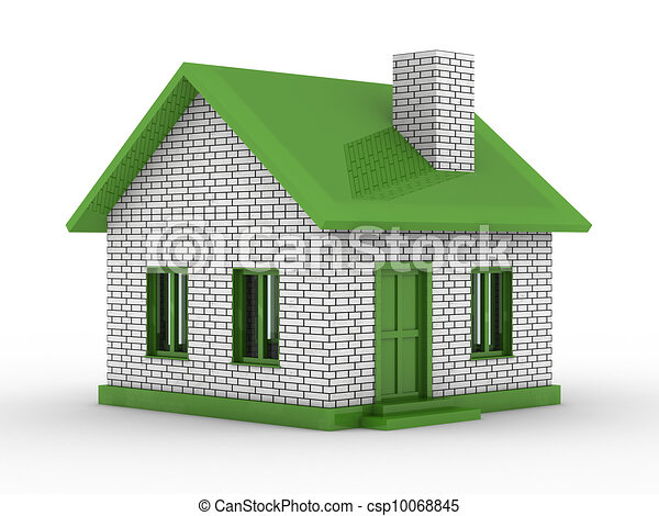 Small House On White Background. Isolated 3D Image   Csp10068845