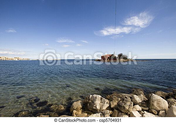 small island in Marzamemi, Siracusa - csp5704931