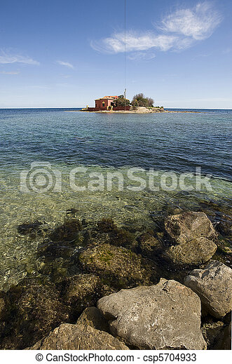 small island in Marzamemi, Siracusa - csp5704933