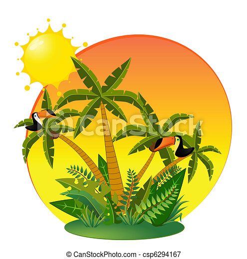 Small Island with tropical palms - csp6294167
