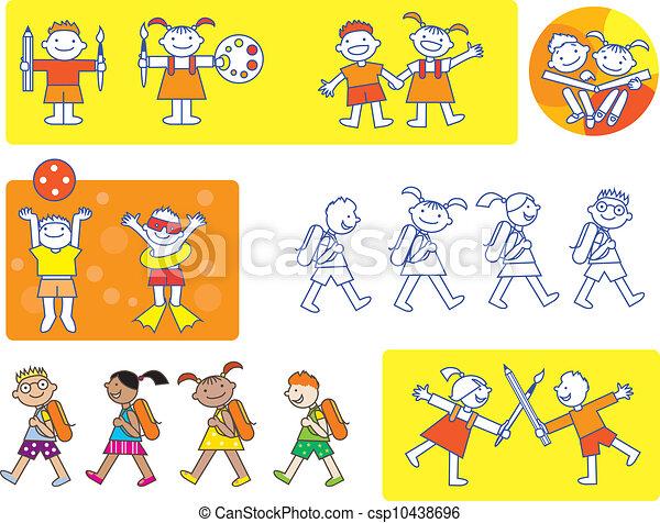 Small Kids School Icons Different Activities Of Preschool Children