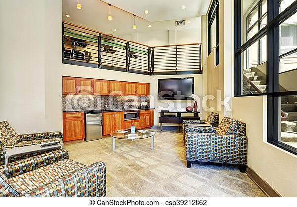 Small kitchen interior with sitting area in modern apartment. - csp39212862