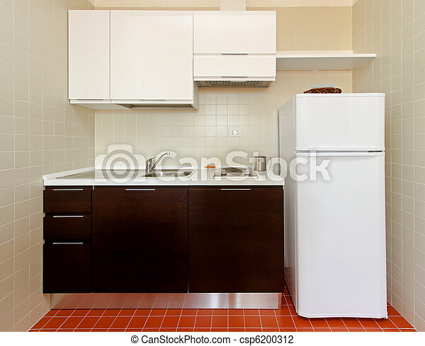 Small Kitchen Kitchenette With All Appliances In Apartment Canstock