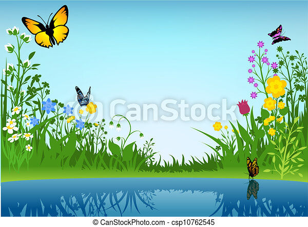 Small Lake and Butterflies - csp10762545