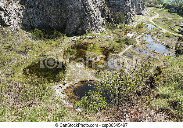 small lakes in the abandoned quarry