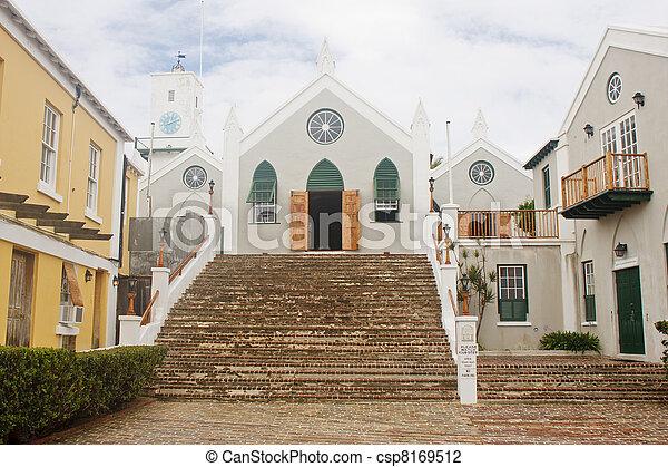 Small Old Catholic Church at top of Brick Steps - csp8169512