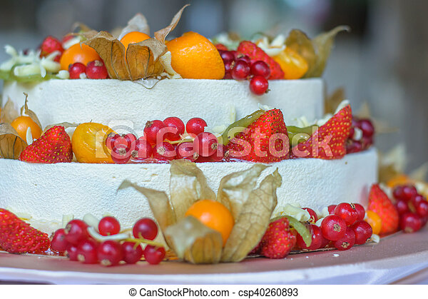 Small Part Of The Beautiful Fruit Wedding Cake Three Tiered White