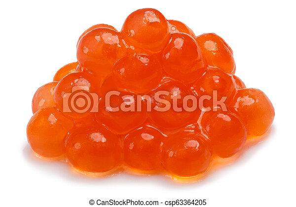 Small pile of salmon red caviar - csp63364205