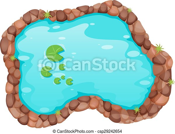 top view of small pond with water lily clipart vector search rh canstockphoto com clipart pond animals pond clipart outline