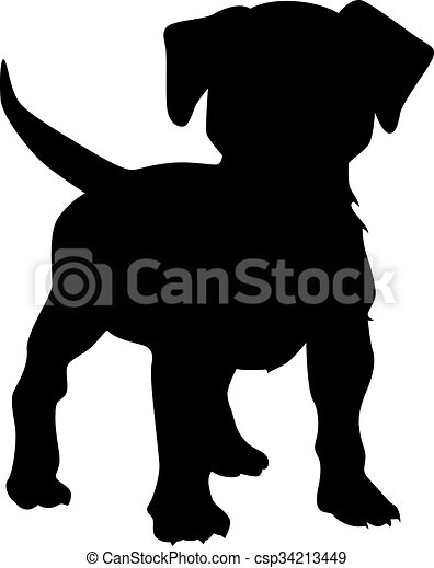 small puppy vector vector illustration of a puppy dog silhouette rh canstockphoto com puppy vector clipart puppy vector free download